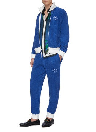 Figure View - Click To Enlarge - CASABLANCA - Contrast cuff logo embroidered terry cotton track pants