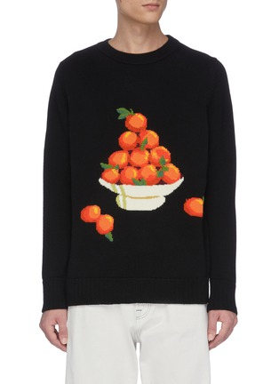 Main View - Click To Enlarge - CASABLANCA - 'Pyramid Orange' jacquard sweater