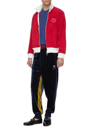 Figure View - Click To Enlarge - CASABLANCA - Contrast hem logo embroidered terry cotton track jacket