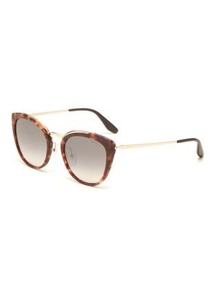 Main View - Click To Enlarge - PRADA - Tortoiseshell acetate rim metal cat eye sunglasses