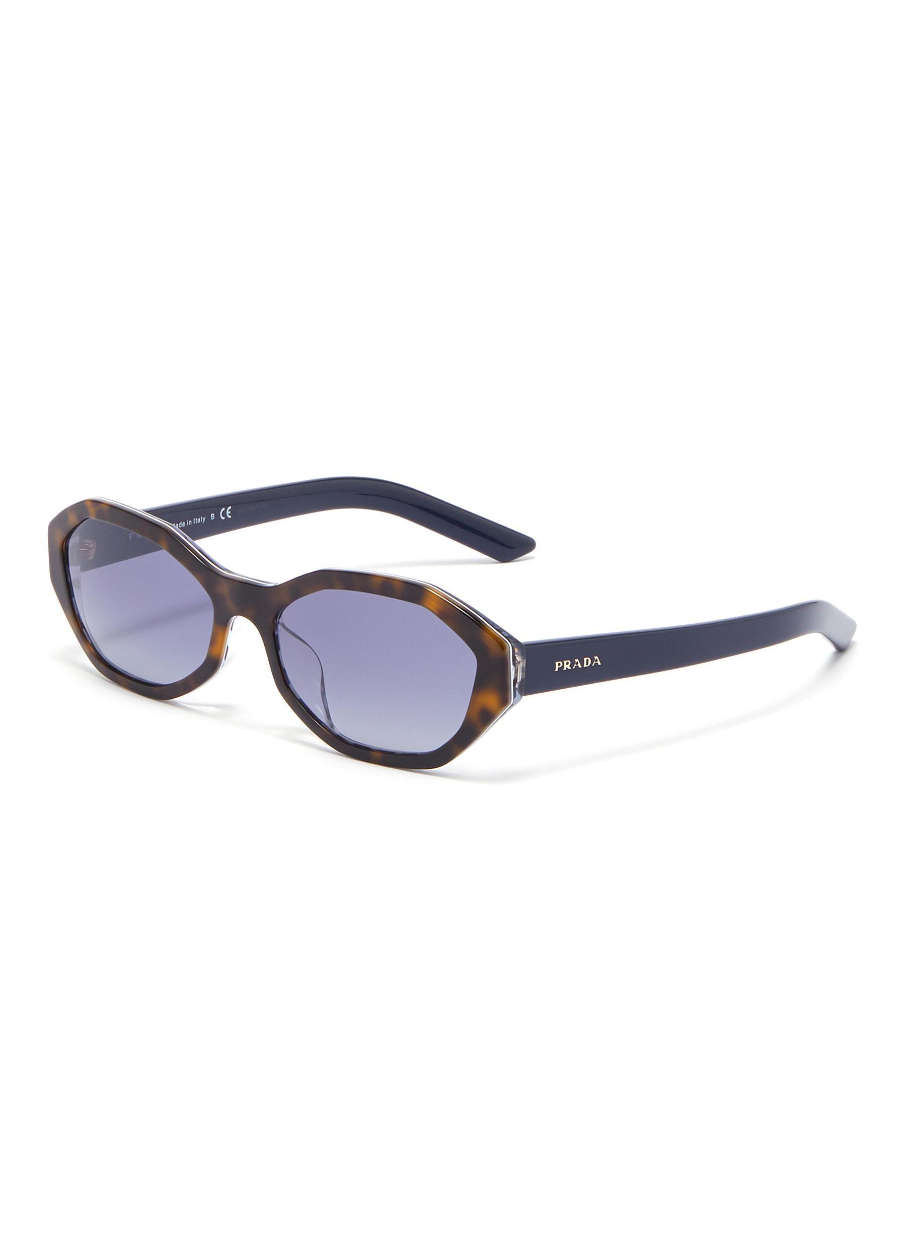 071405ea2998 Main View - Click To Enlarge - PRADA - Tortoiseshell effect rim acetate  oval sunglasses