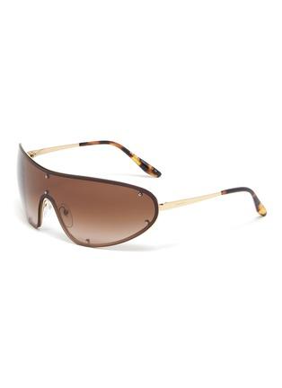 Main View - Click To Enlarge - PRADA - Single lens metal sunglasses