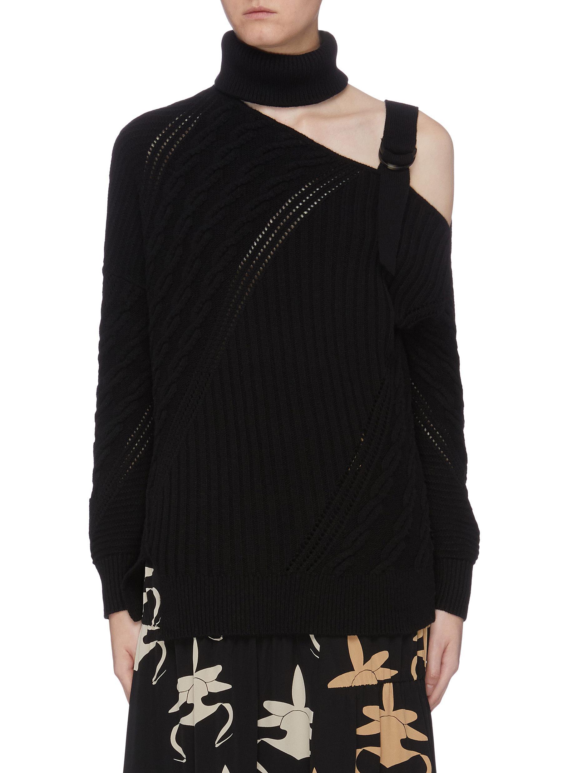 Asymmetric cold shoulder cutout turtleneck sweater by Jonathan Simkhai
