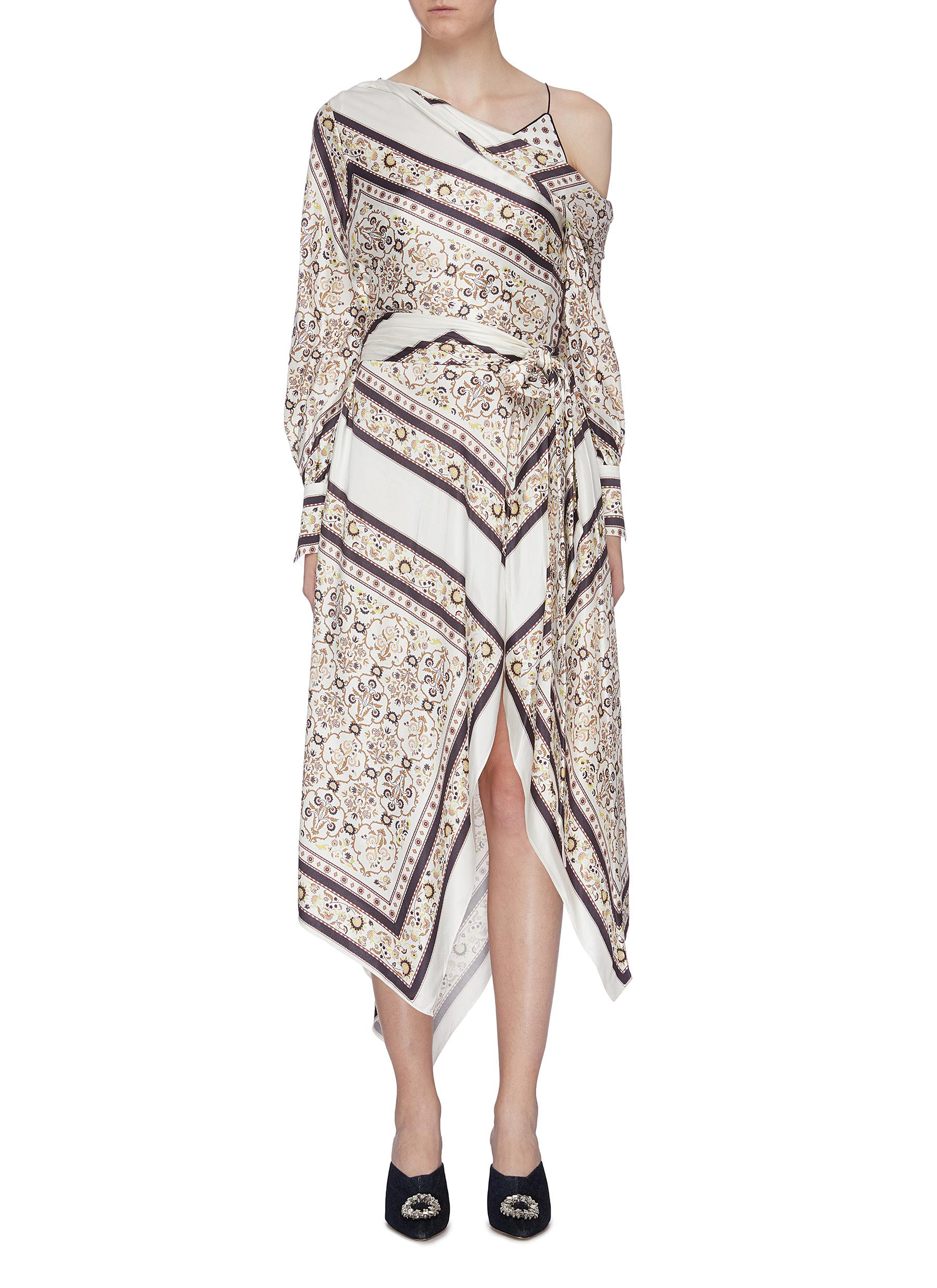 Belted scarf print one shoulder handkerchief dress by Jonathan Simkhai