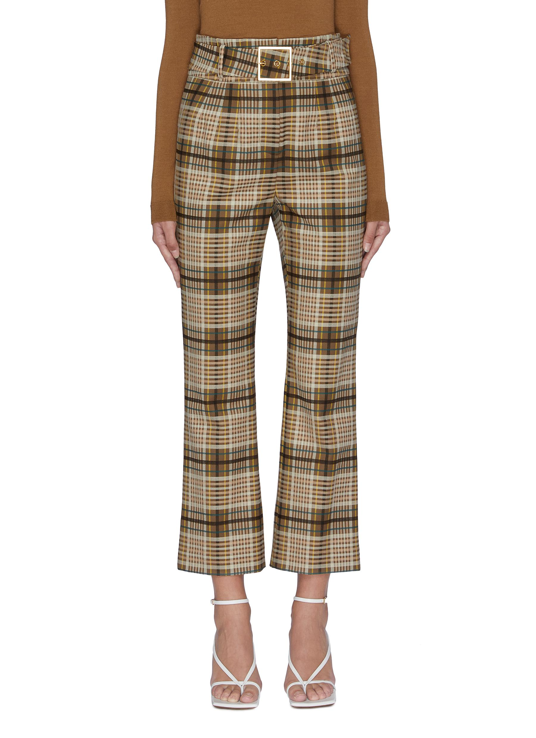 Belted tartan plaid cigarette pants by Jonathan Simkhai