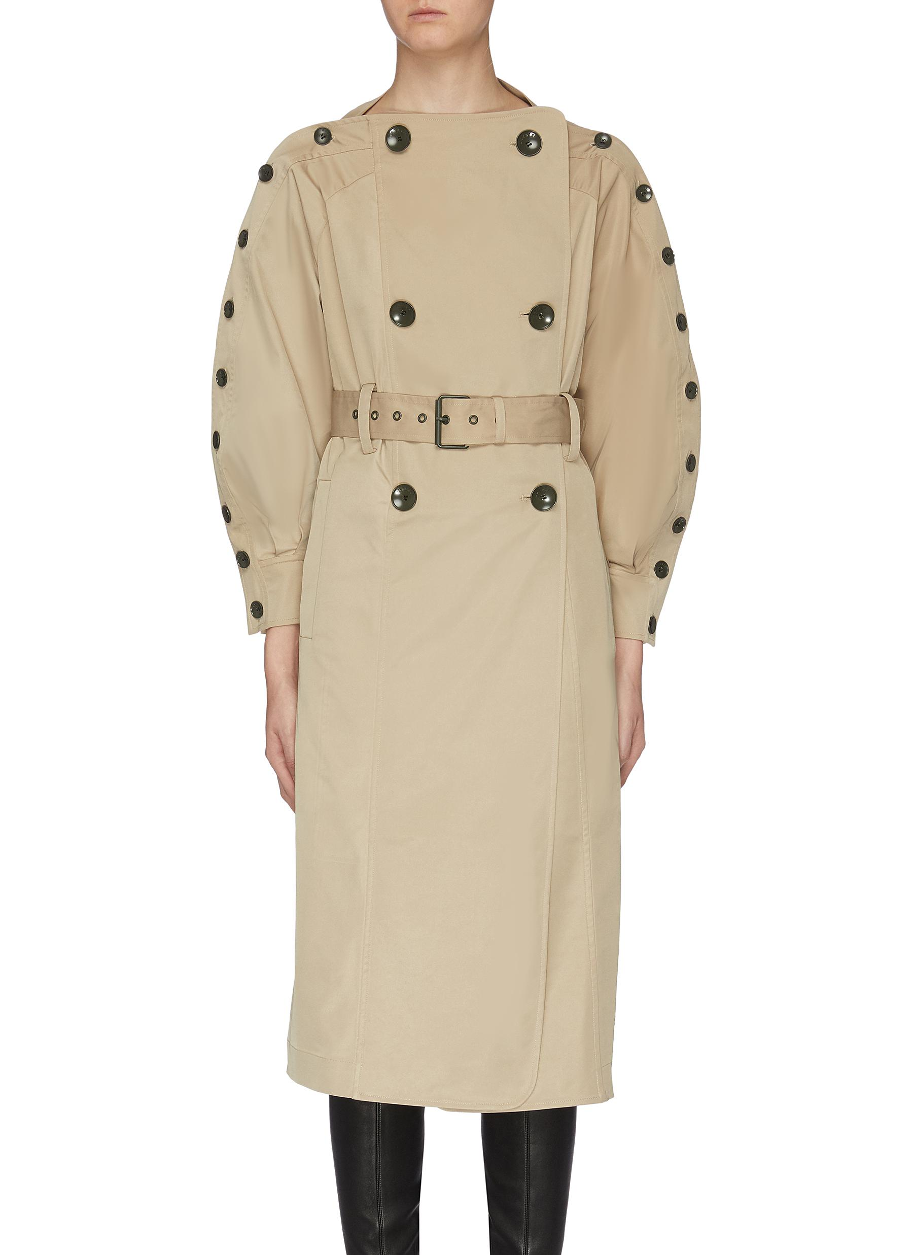 Belted button sleeve trench coat by Maya Li