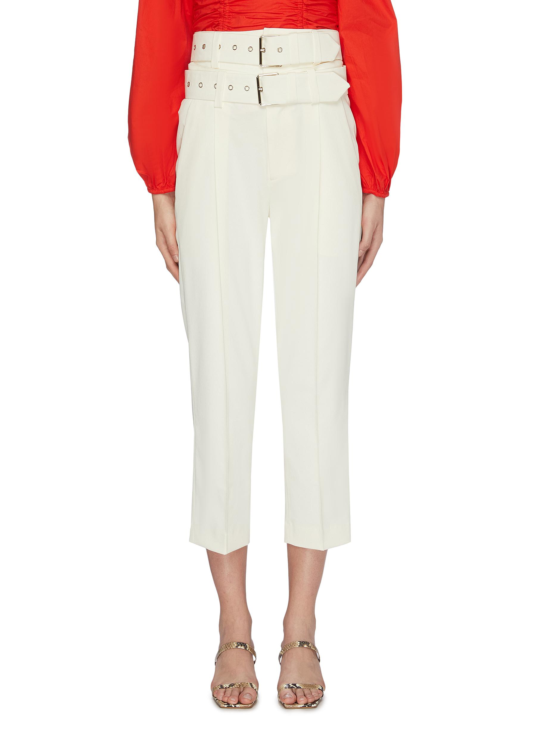 Double belted cropped suiting pants by Maya Li