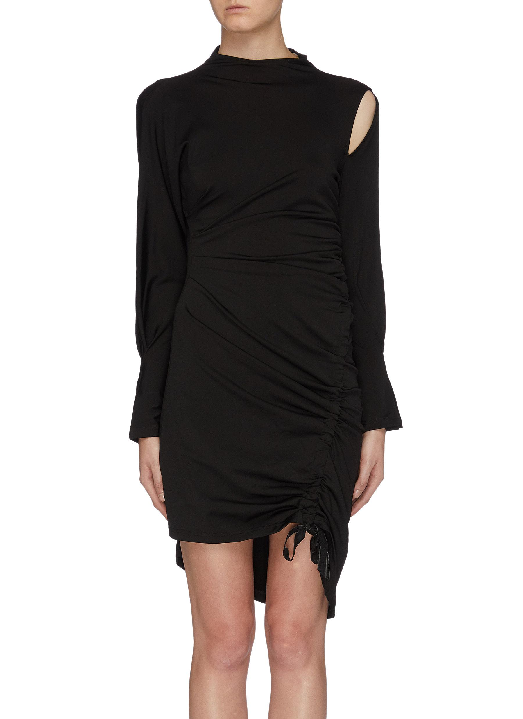 Asymmetric cutout shoulder ruched dress by Maya Li