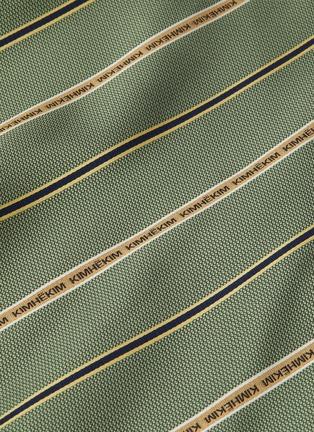 - KIMHĒKIM - Logo embroidered stripe asymmetric midi skirt