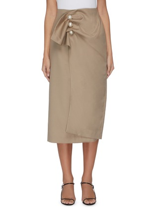 Main View - Click To Enlarge - KIMHĒKIM - 'Venus' faux pearl button ruched midi skirt