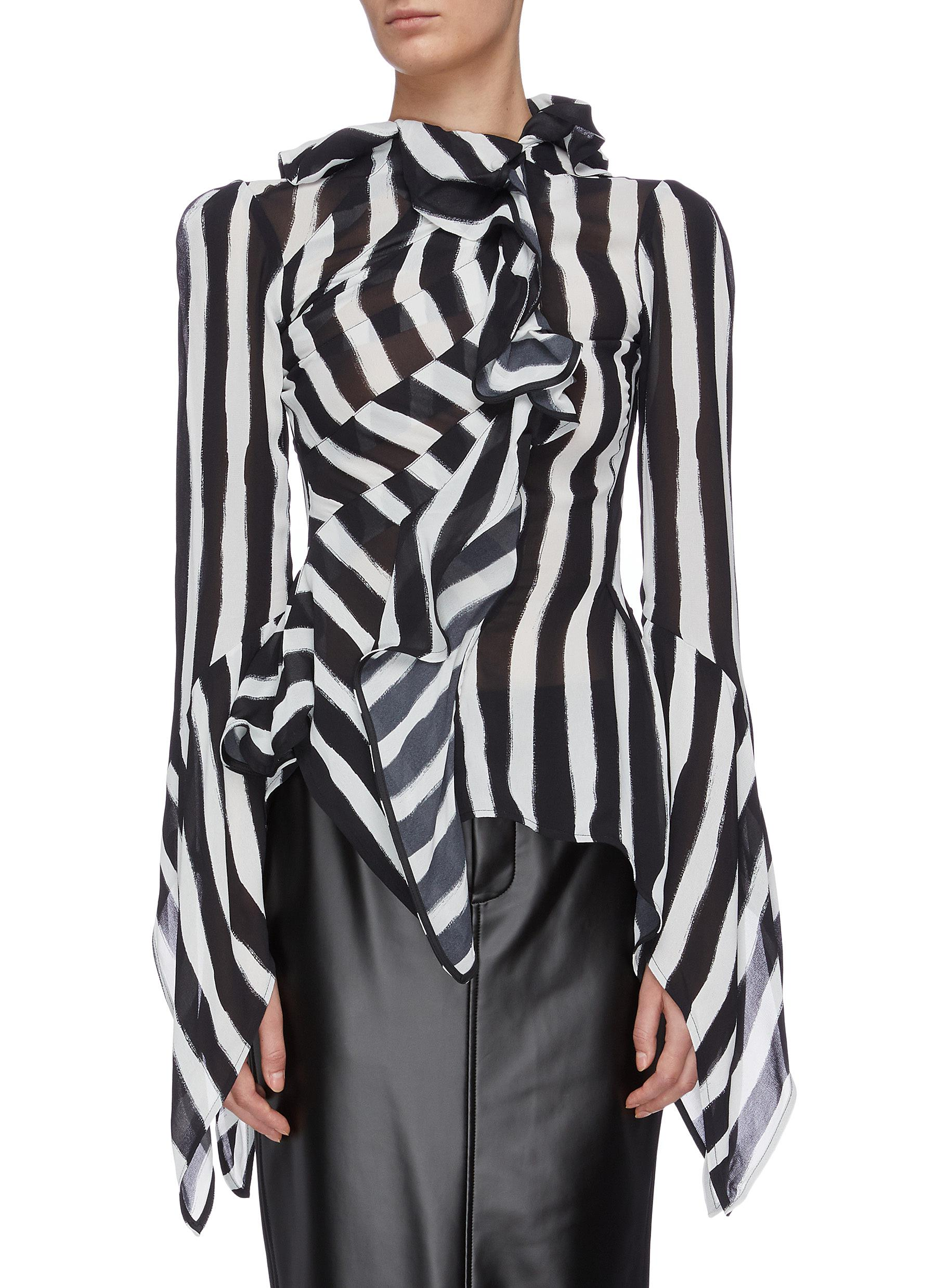 Maintain ruffled stripe shirt top by Maticevski