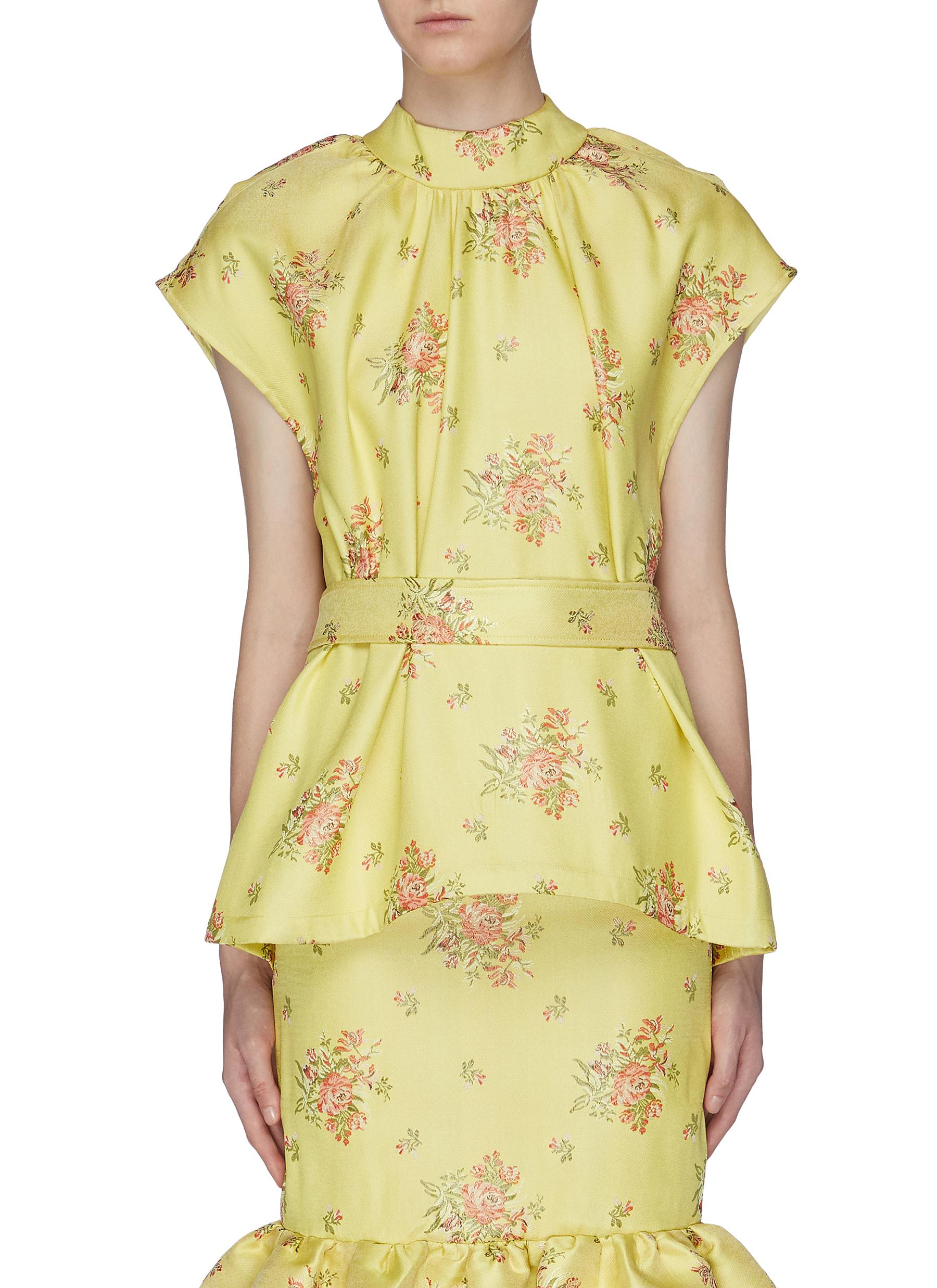 Cape back floral brocade peplum top by Ming Ma