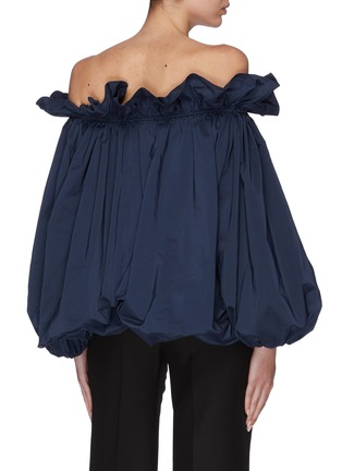 Back View - Click To Enlarge - MING MA - Bubble hem ruffle neck off-shoulder top