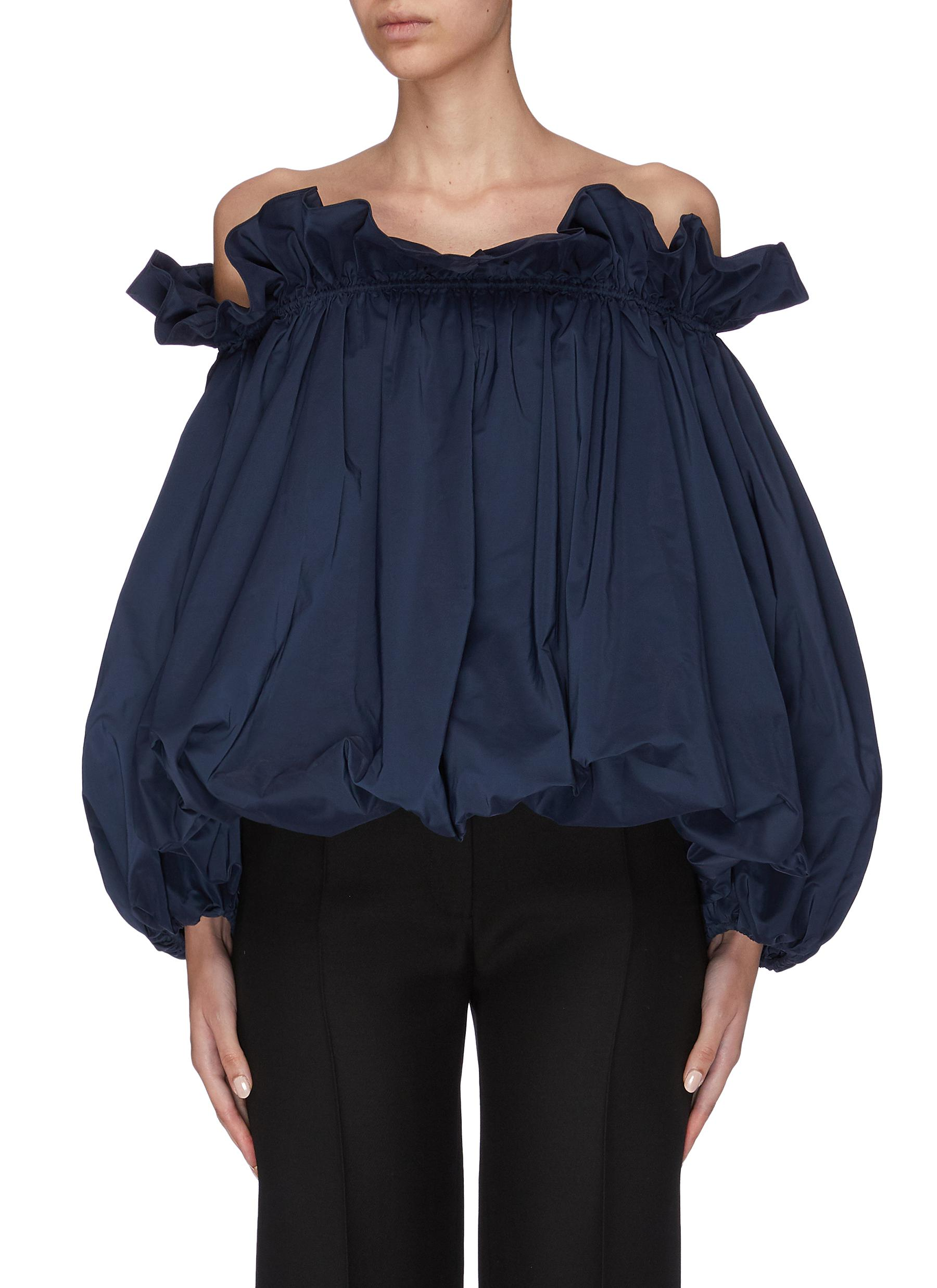 Bubble hem ruffle neck off-shoulder top by Ming Ma