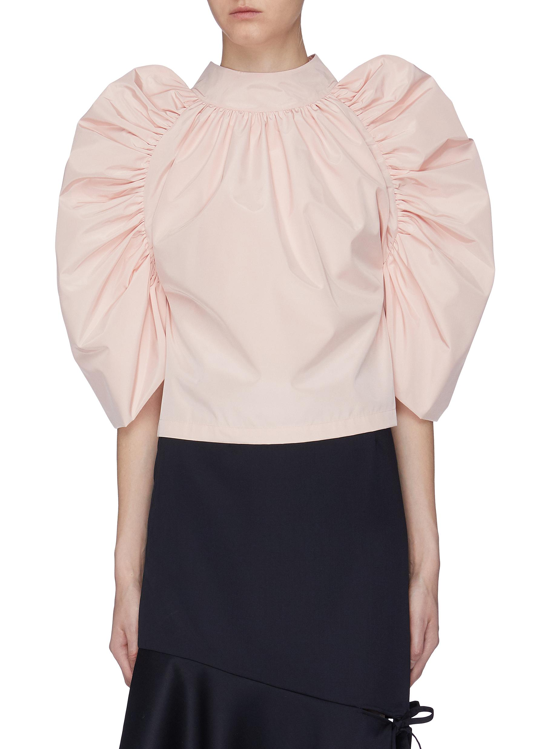 Bow tie back gathered puff sleeve top by Ming Ma