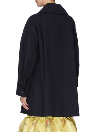 Back View - Click To Enlarge - MING MA - String tie pleated sleeve wool coat