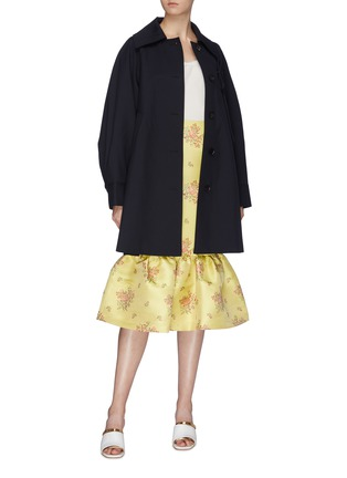 Figure View - Click To Enlarge - MING MA - String tie pleated sleeve wool coat