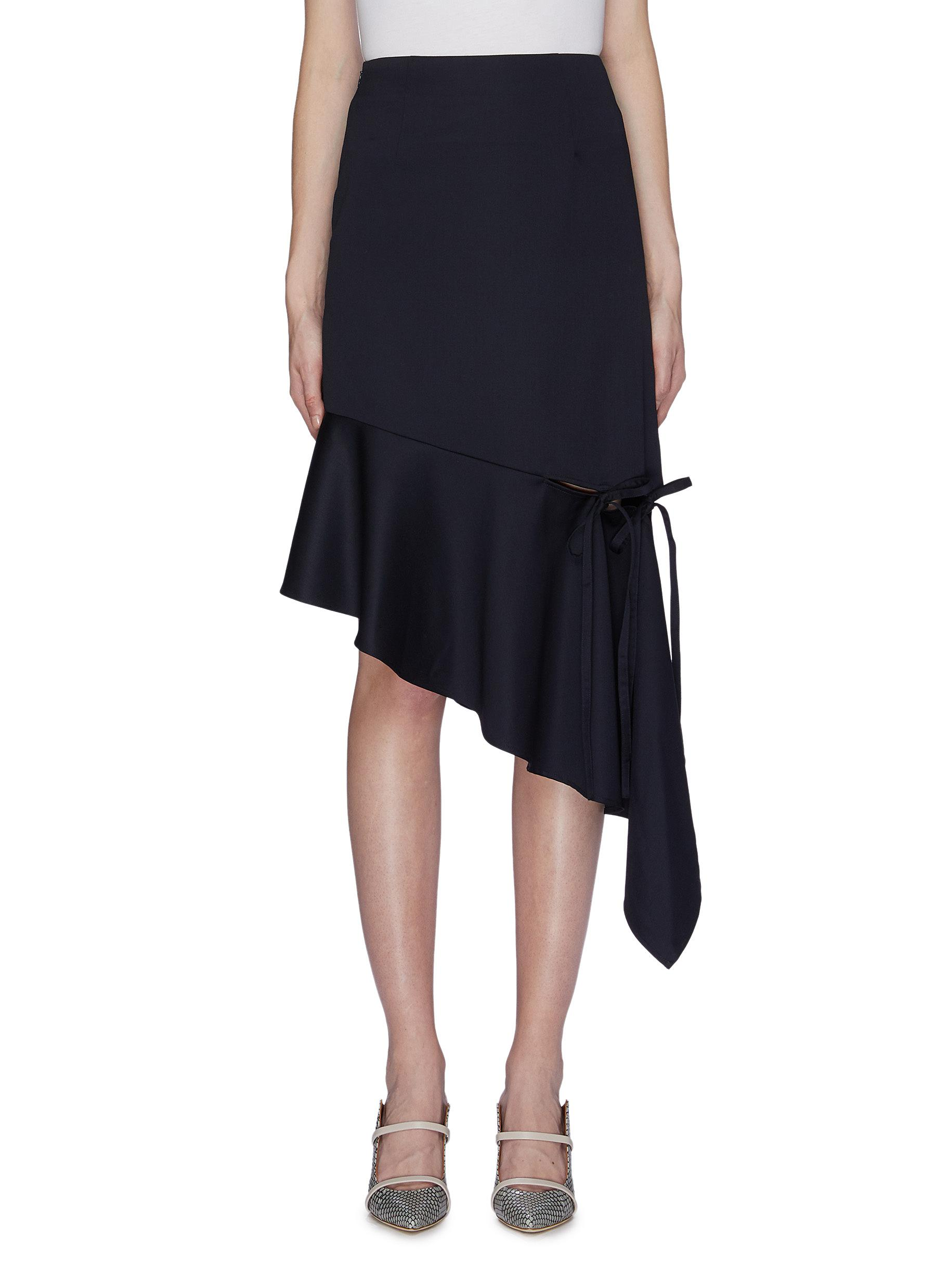 Bow tie slit hem asymmetric drape skirt by Ming Ma