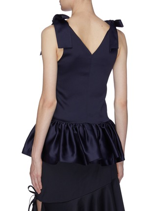 Back View - Click To Enlarge - MING MA - Bow strap satin peplum top