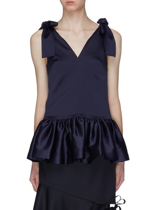 Main View - Click To Enlarge - MING MA - Bow strap satin peplum top