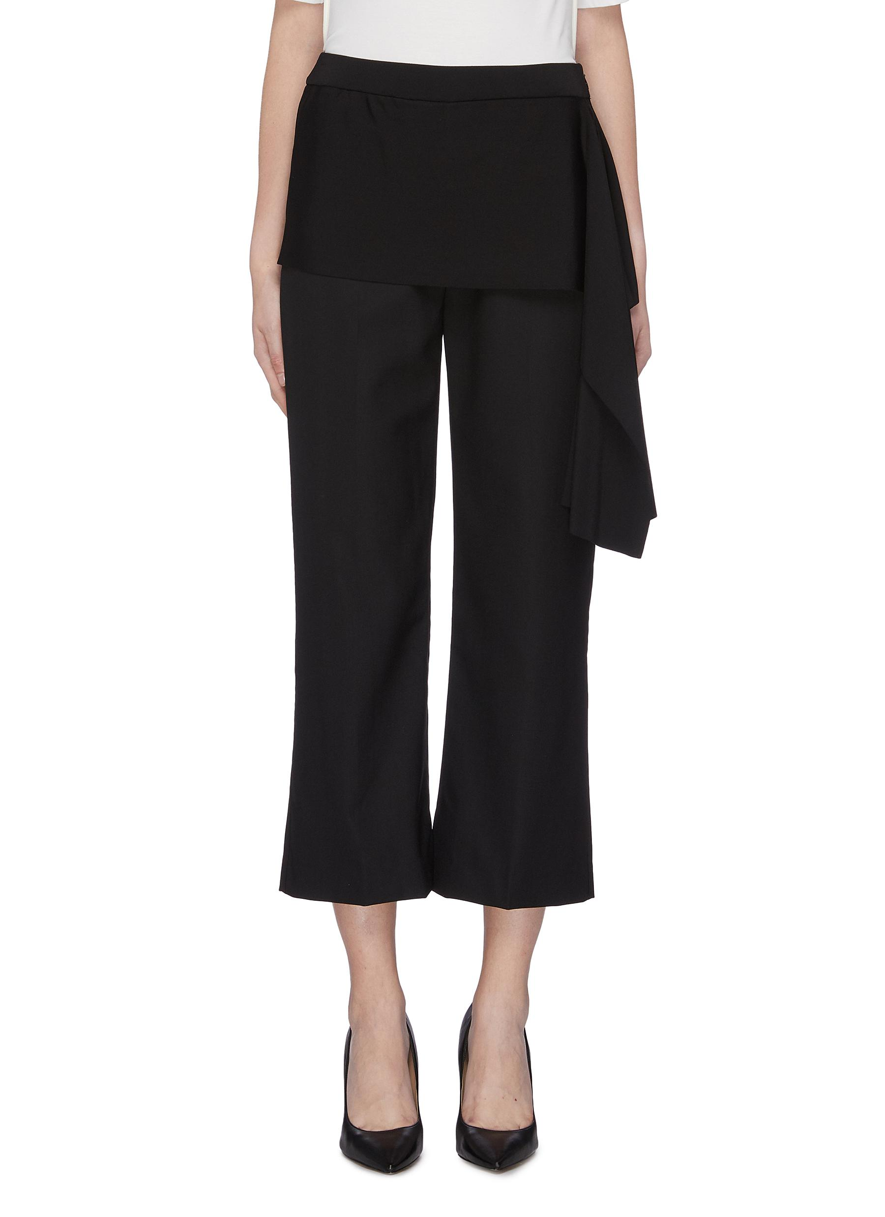 Drape knit panel cropped suiting pants by 3.1 Phillip Lim