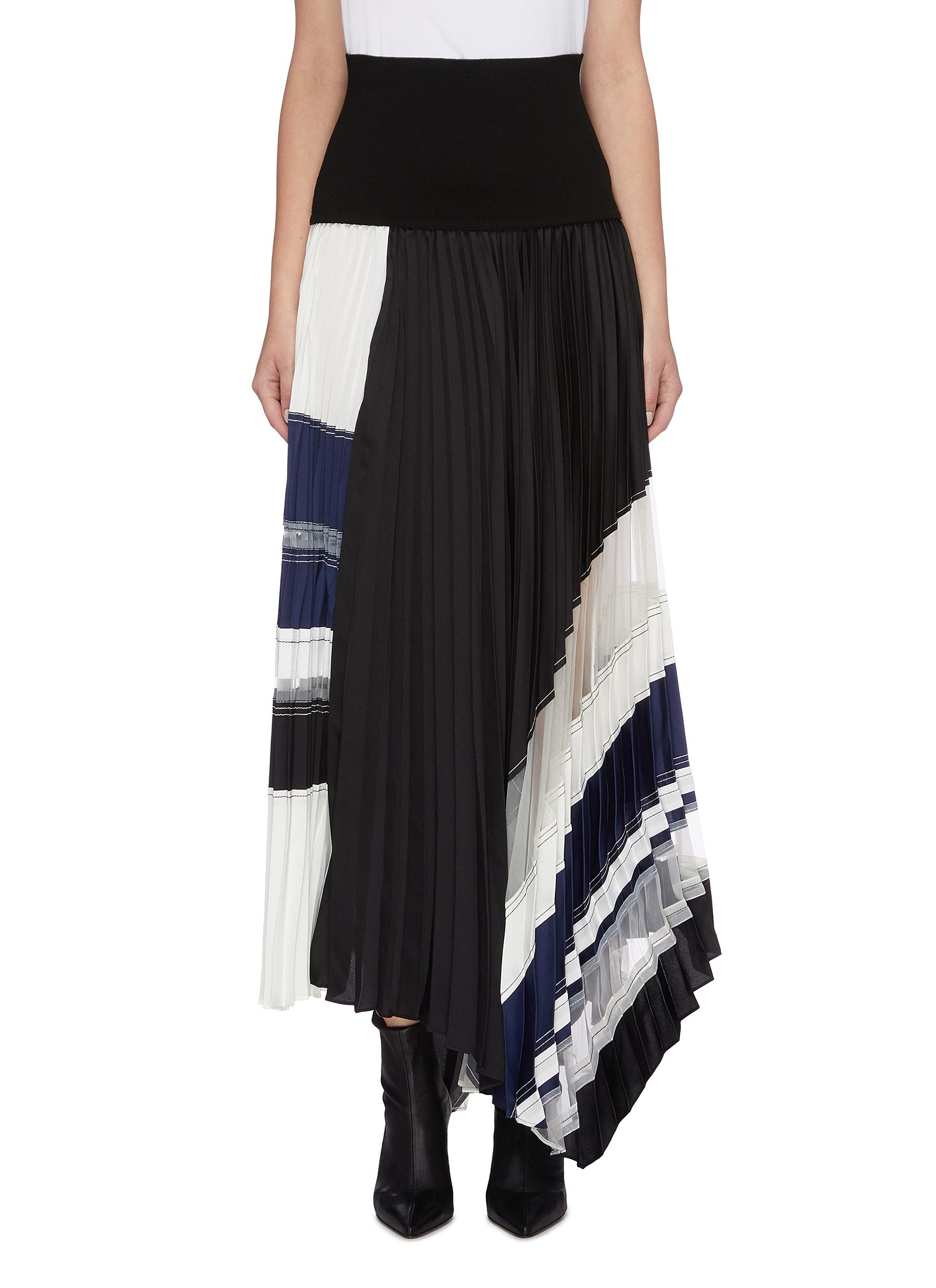 Contrast waist panel pleated asymmetric skirt by 3.1 Phillip Lim