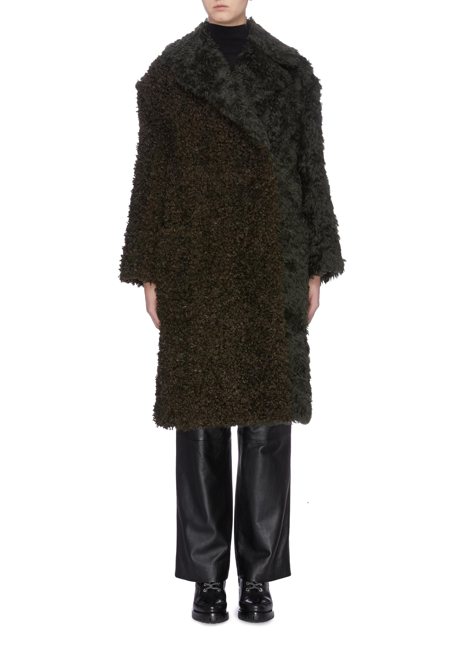 Faux shearling panel mohair coat by 3.1 Phillip Lim