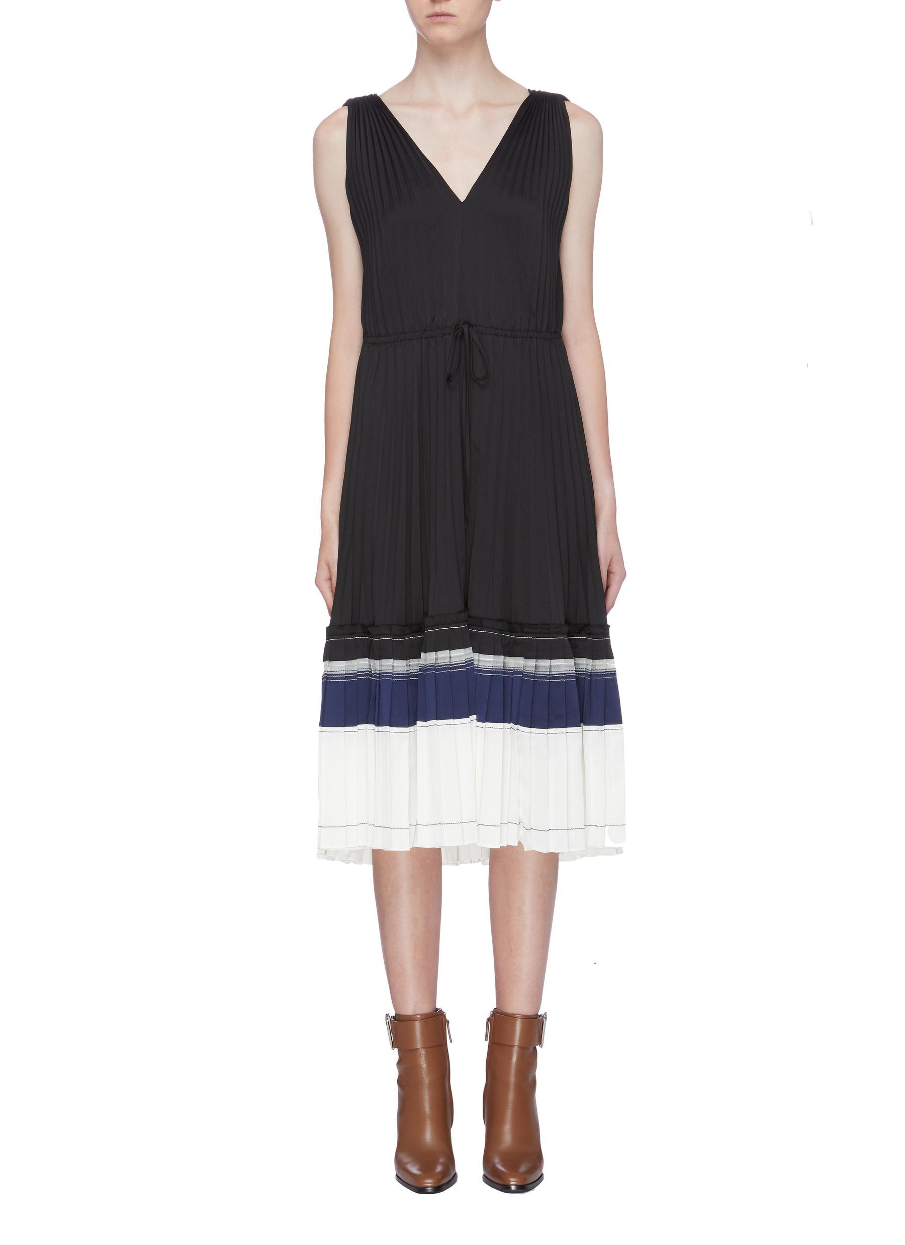Tiered stripe hem pleated dress by 3.1 Phillip Lim