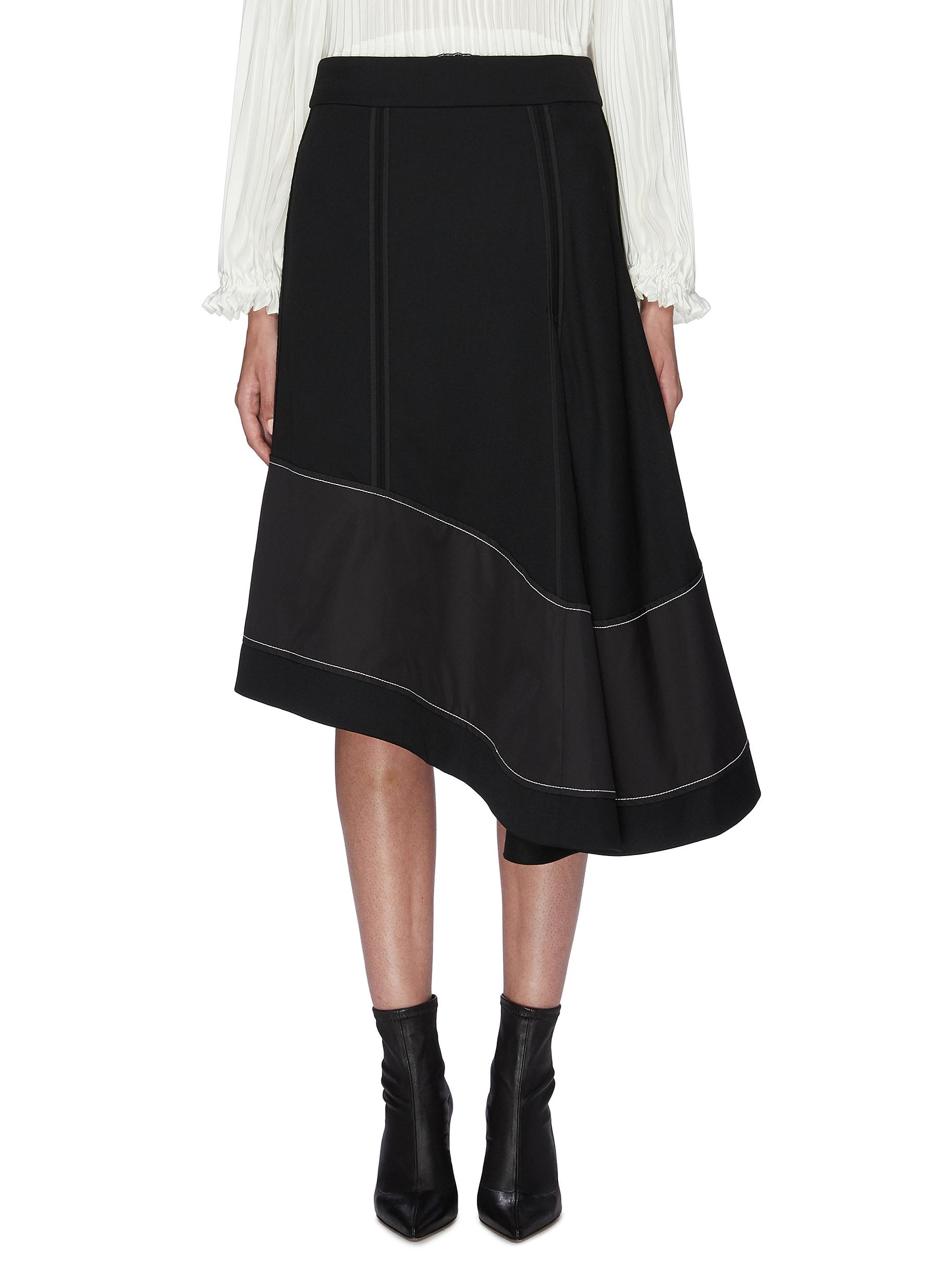 Asymmetric panelled flared wool skirt by 3.1 Phillip Lim
