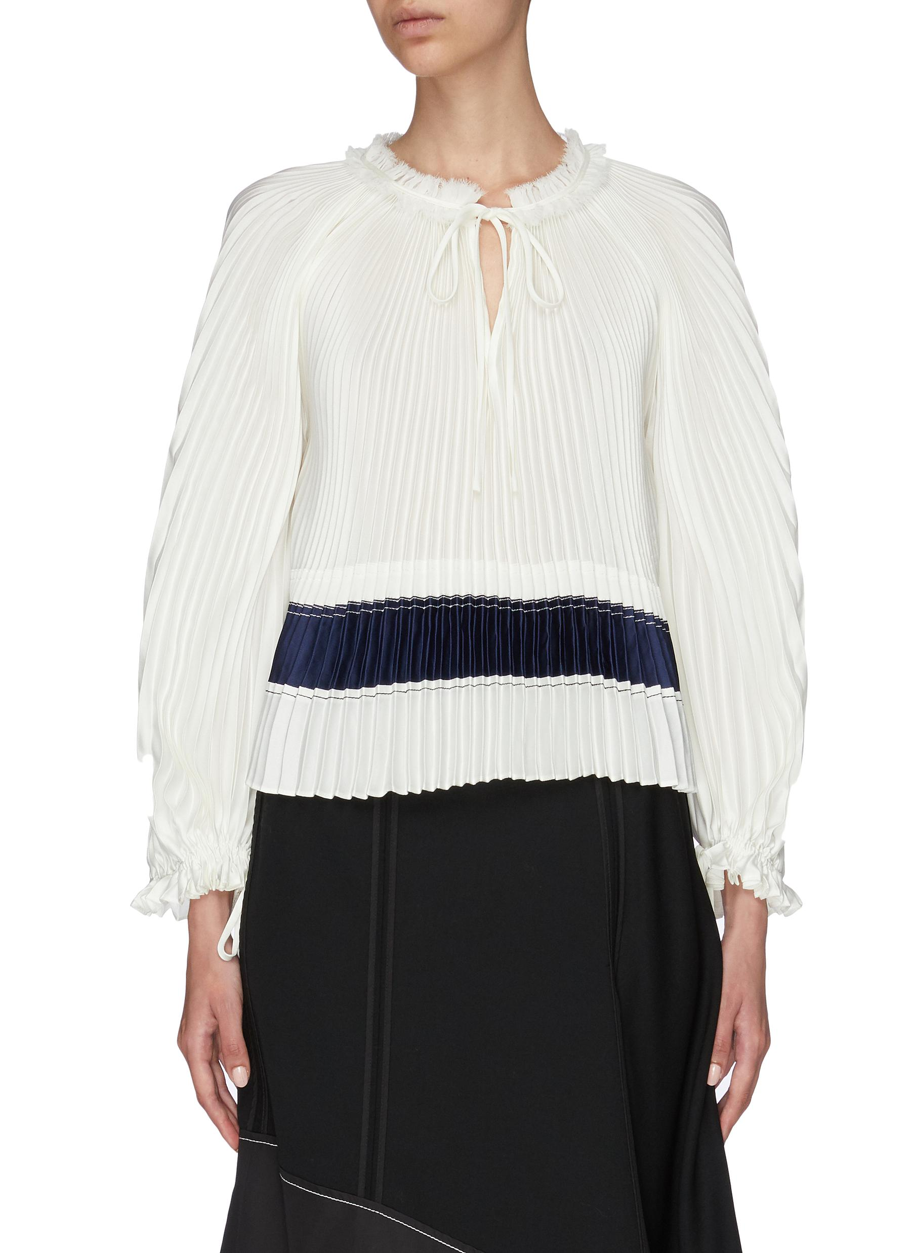 Tie keyhole front pleated blouse by 3.1 Phillip Lim