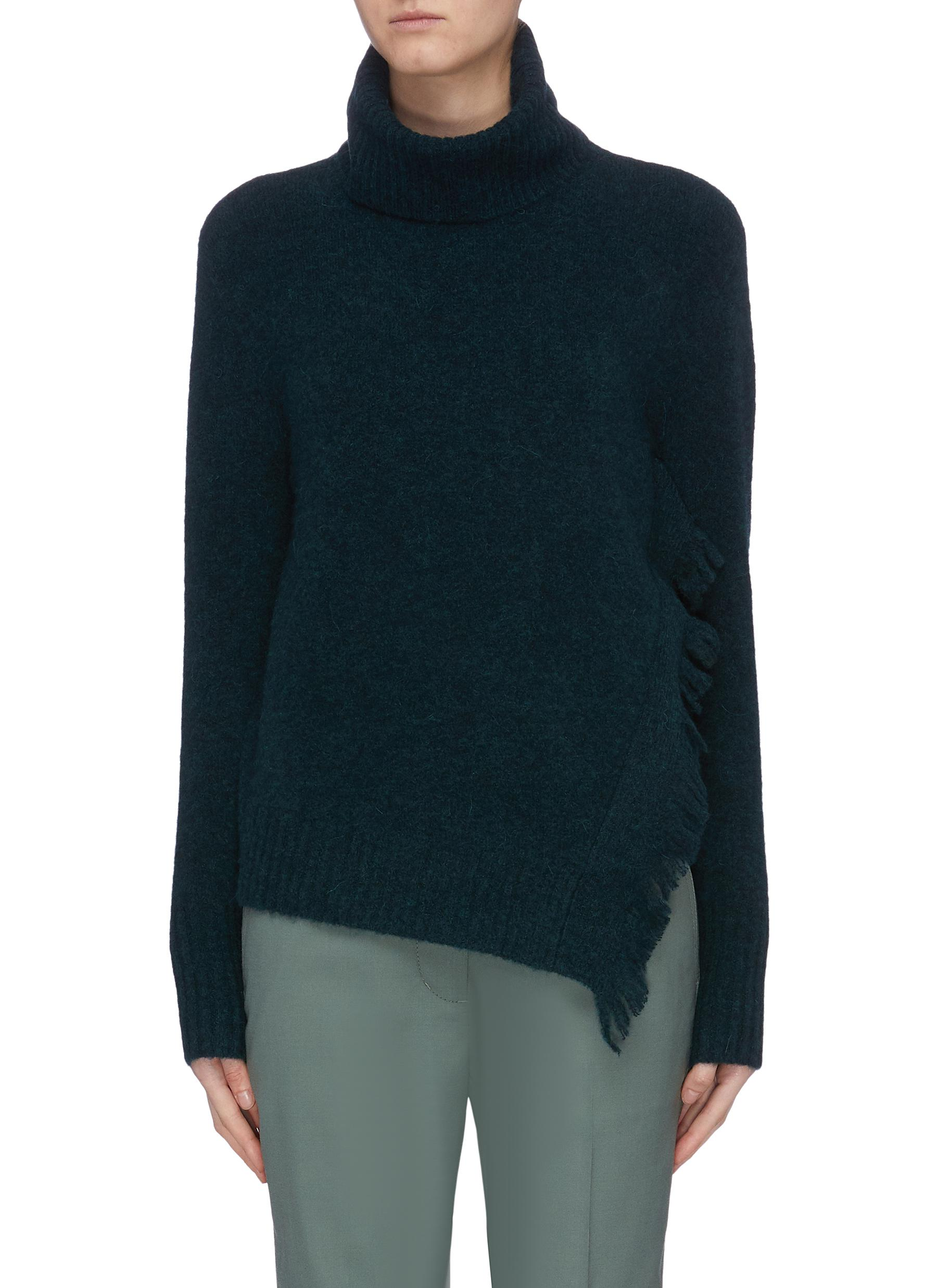 Fringe drape side turtleneck sweater by 3.1 Phillip Lim