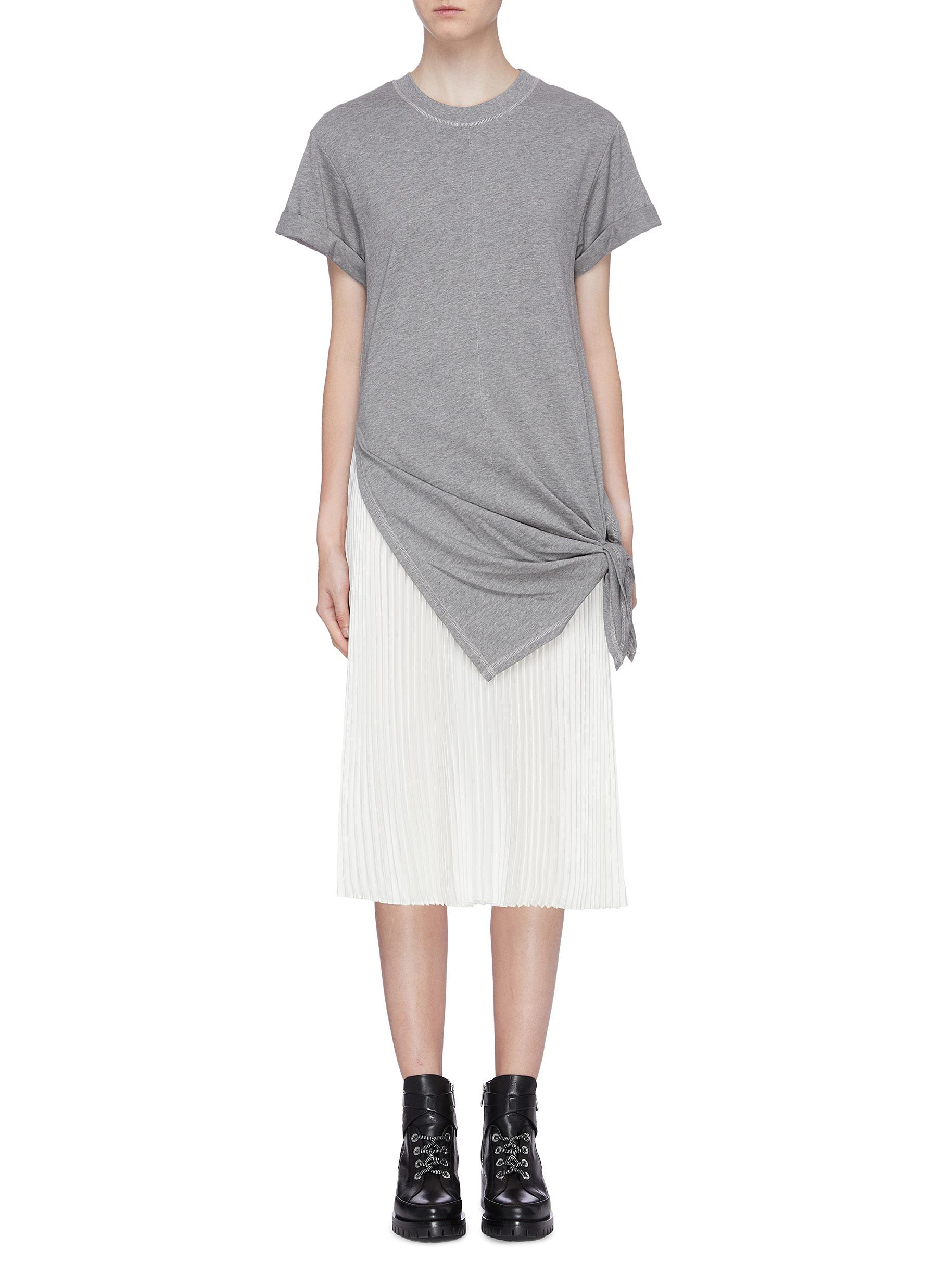 Tie side pleated underlay T-shirt dress by 3.1 Phillip Lim