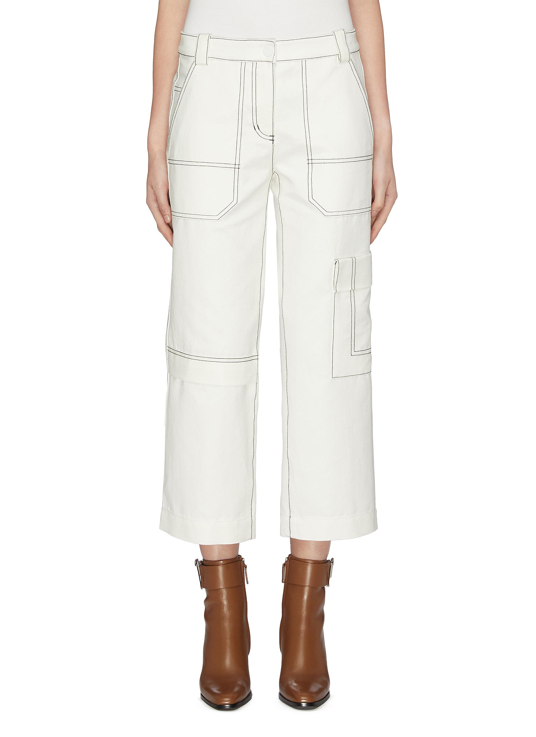 Contrast top stitching twill cropped cargo pants by 3.1 Phillip Lim