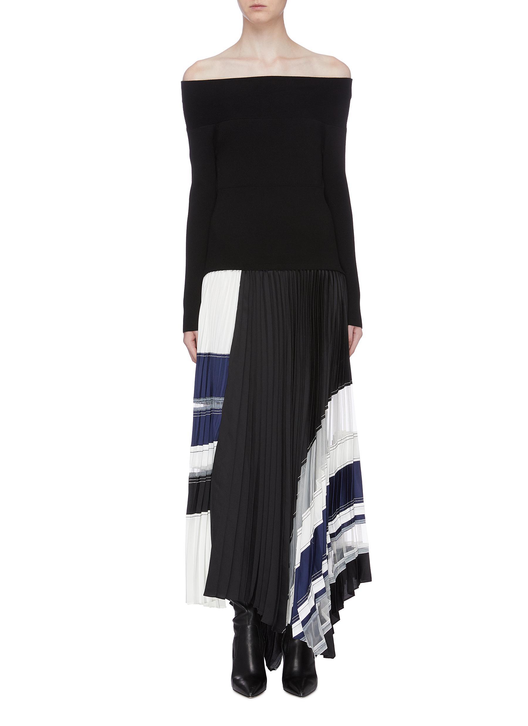 Contrast pleated asymmetric stripe hem off-shoulder dress by 3.1 Phillip Lim