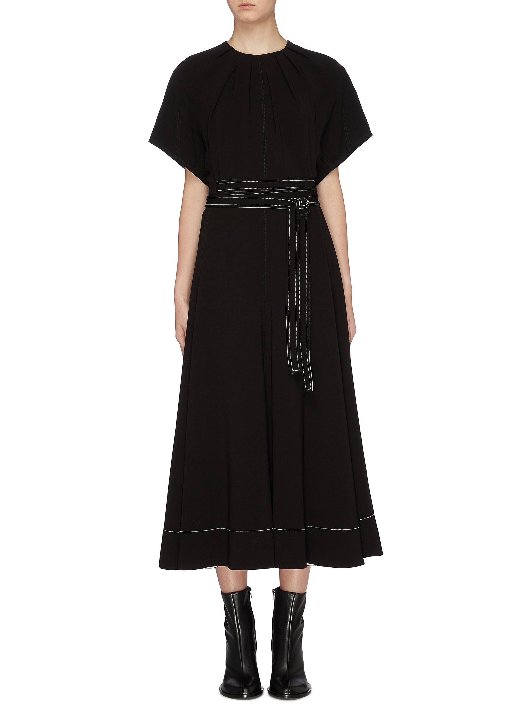 Belted ruched collar crepe dress by 3.1 Phillip Lim