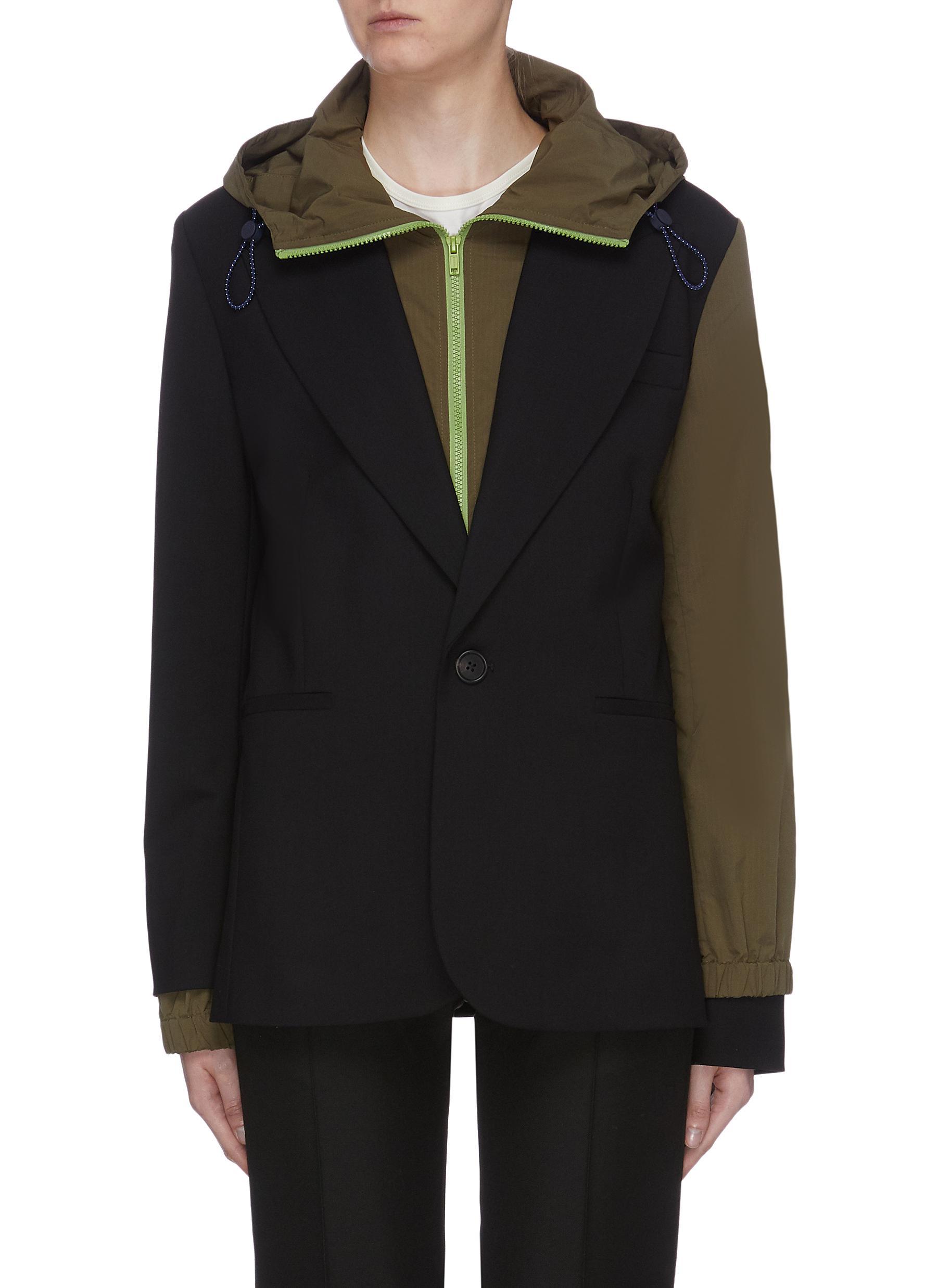 Hooded jacket underlay Virgin wool blazer by Monse