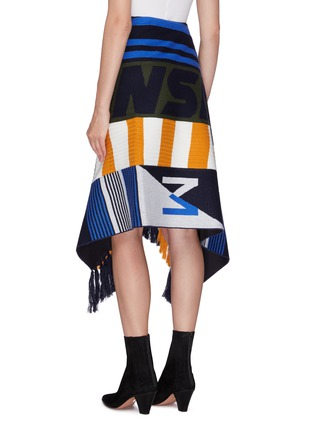 Back View - Click To Enlarge - MONSE - Patchwork mixed print asymmetric scarf skirt