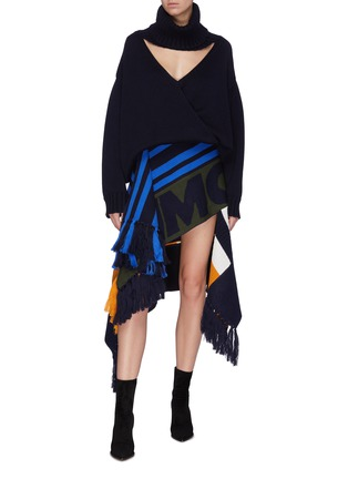 Figure View - Click To Enlarge - MONSE - Patchwork mixed print asymmetric scarf skirt