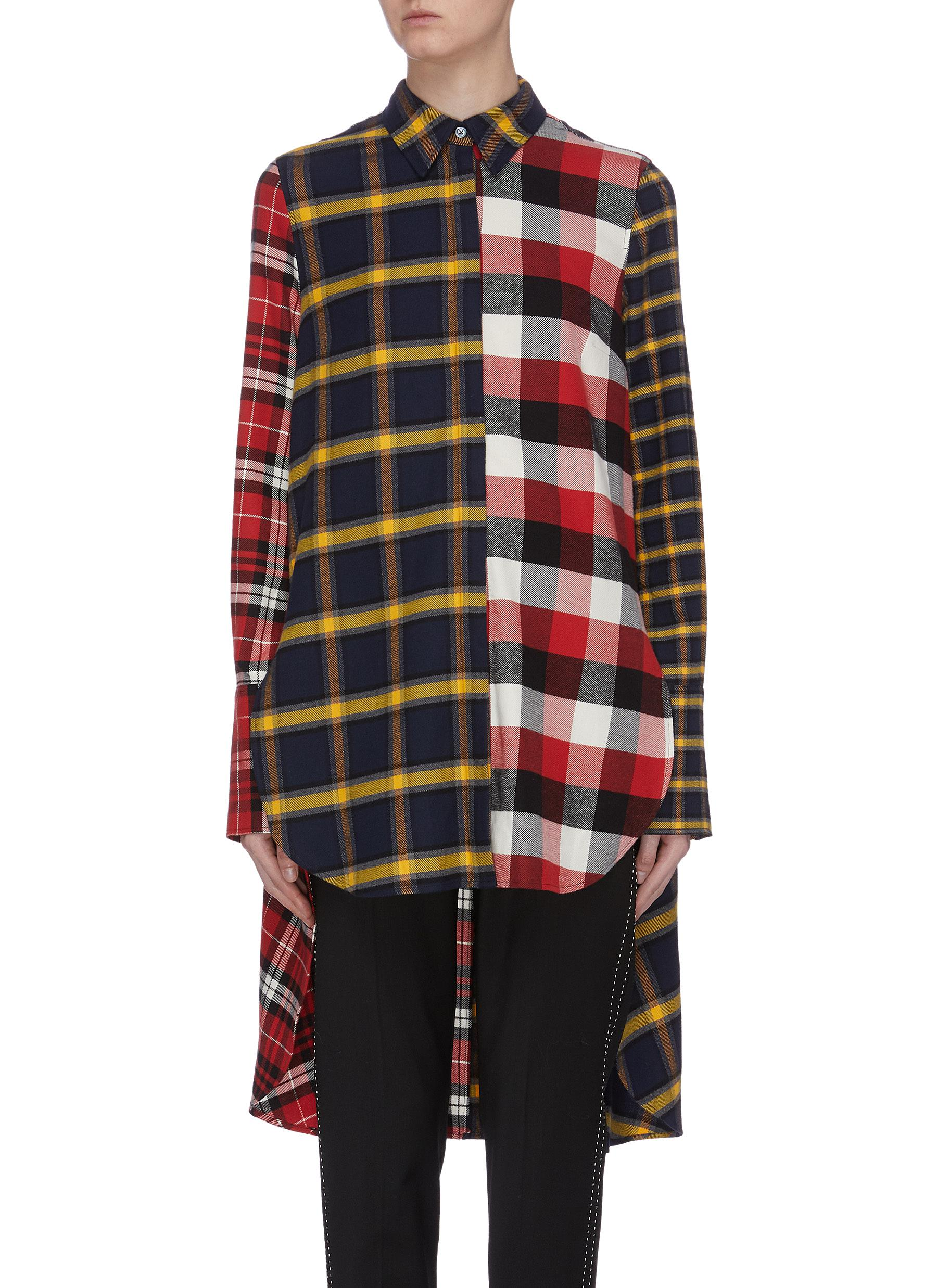 Check plaid patchwork high-low shirt by Monse