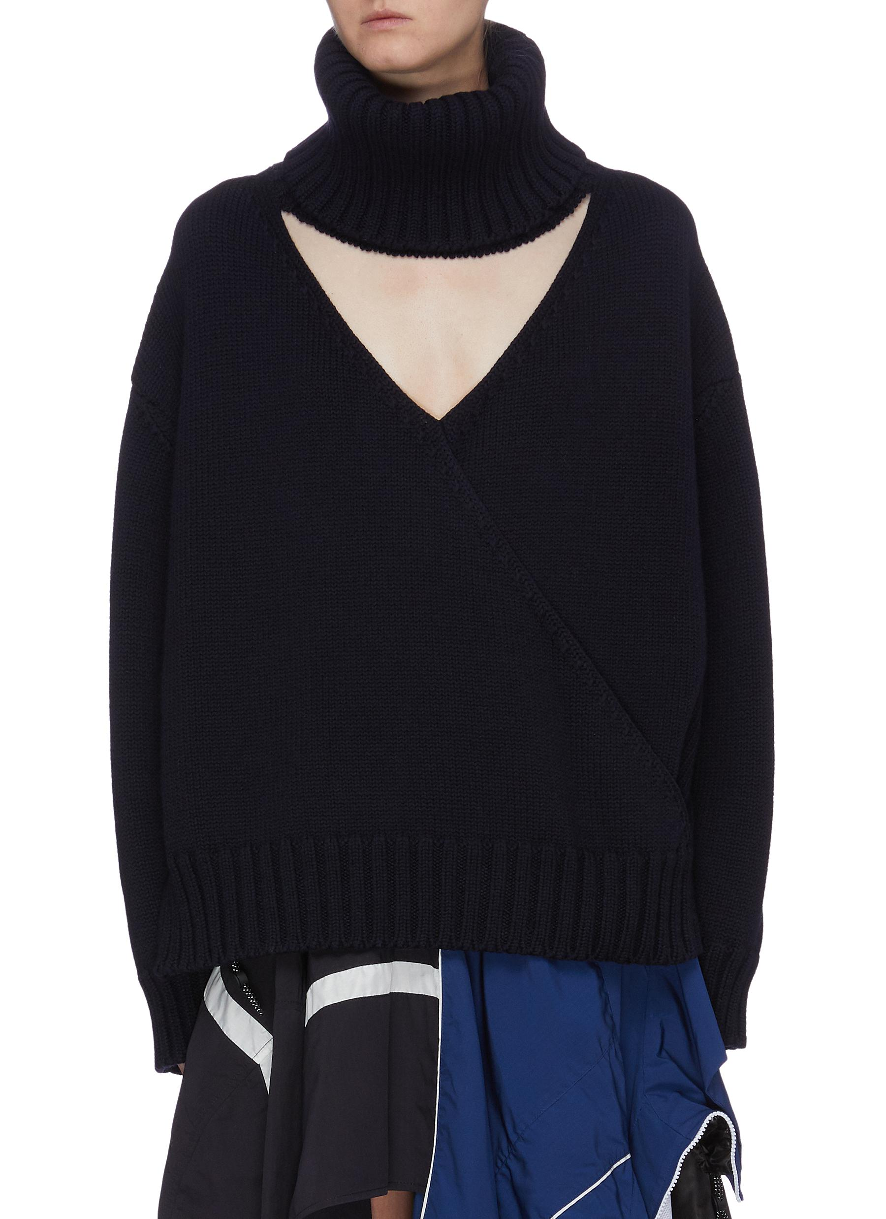 Cutout collar Merino wool turtleneck sweater by Monse