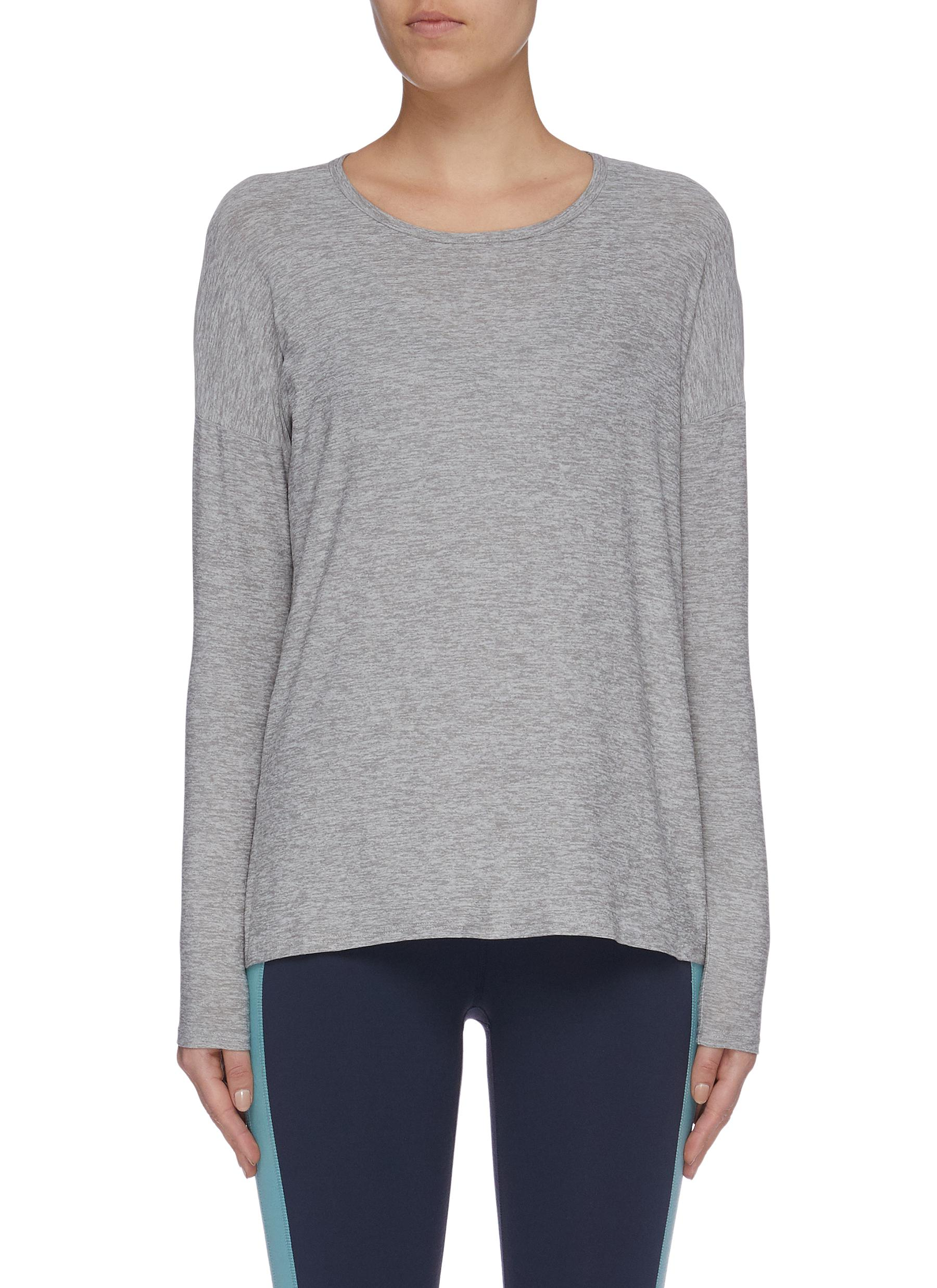 Draw The Line long sleeve slit back tie top by Beyond Yoga