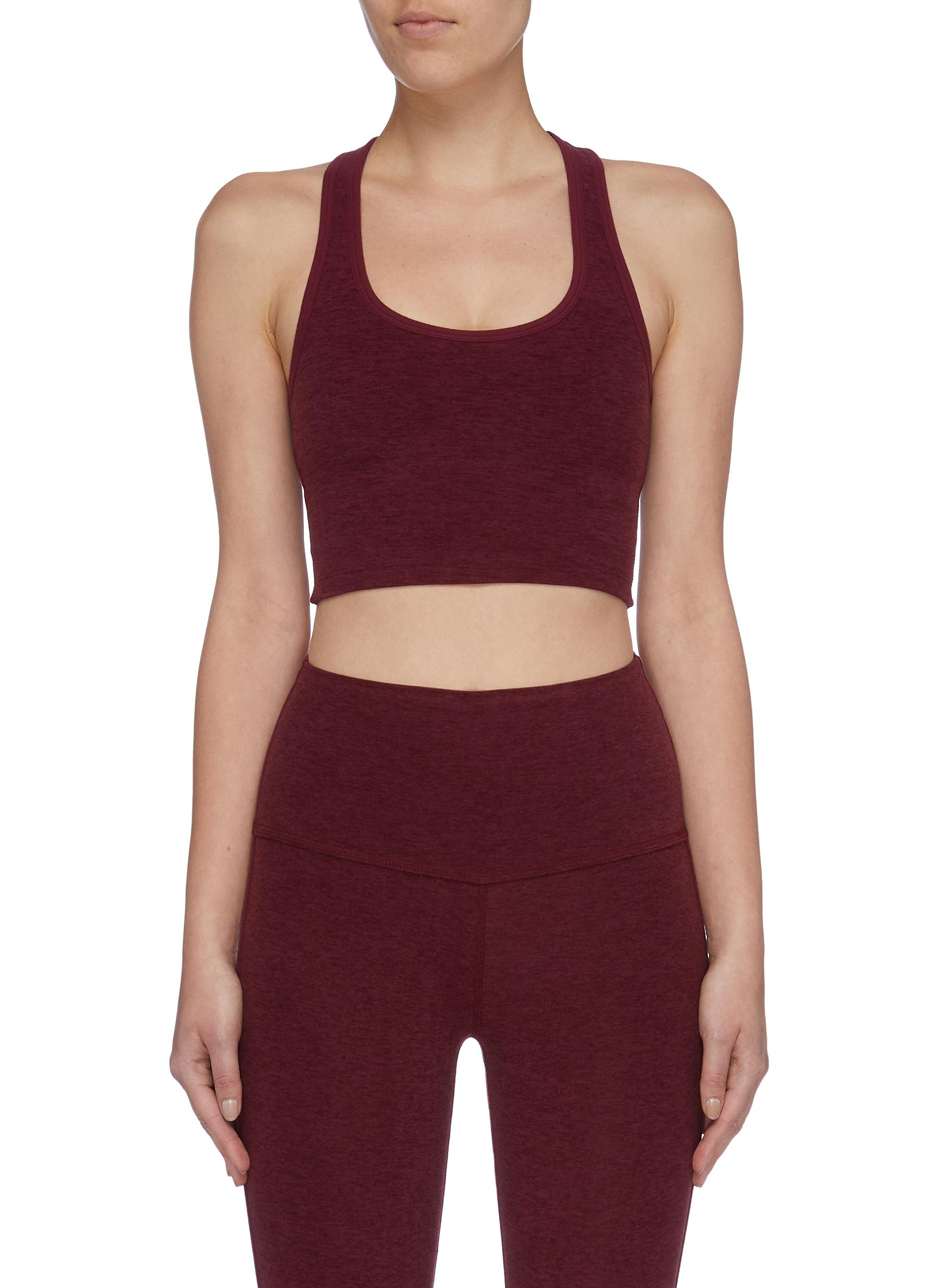 Slip open back cropped performance tank top by Beyond Yoga