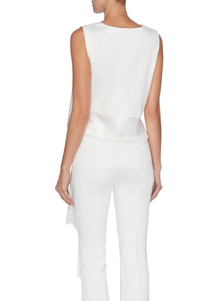 Back View - Click To Enlarge - JONATHAN LIANG - Lace trim tie waist cropped sleeveless top