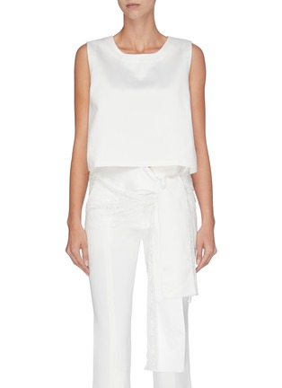 Main View - Click To Enlarge - JONATHAN LIANG - Lace trim tie waist cropped sleeveless top