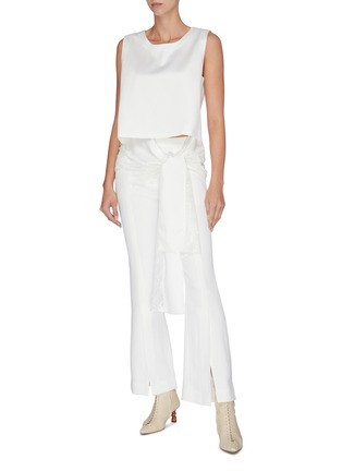 Figure View - Click To Enlarge - JONATHAN LIANG - Lace trim tie waist cropped sleeveless top