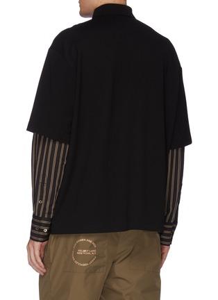Back View - Click To Enlarge - FENG CHEN WANG - Stripe shirt sleeve layered polo shirt