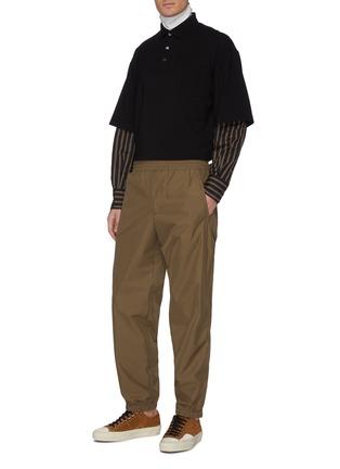 Figure View - Click To Enlarge - FENG CHEN WANG - Stripe shirt sleeve layered polo shirt