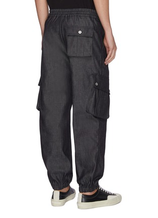 Back View - Click To Enlarge - FENG CHEN WANG - Washed denim cargo jogging pants