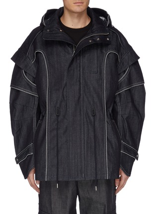 Main View - Click To Enlarge - FENG CHEN WANG - Contrast topstitching layered hooded denim field jacket