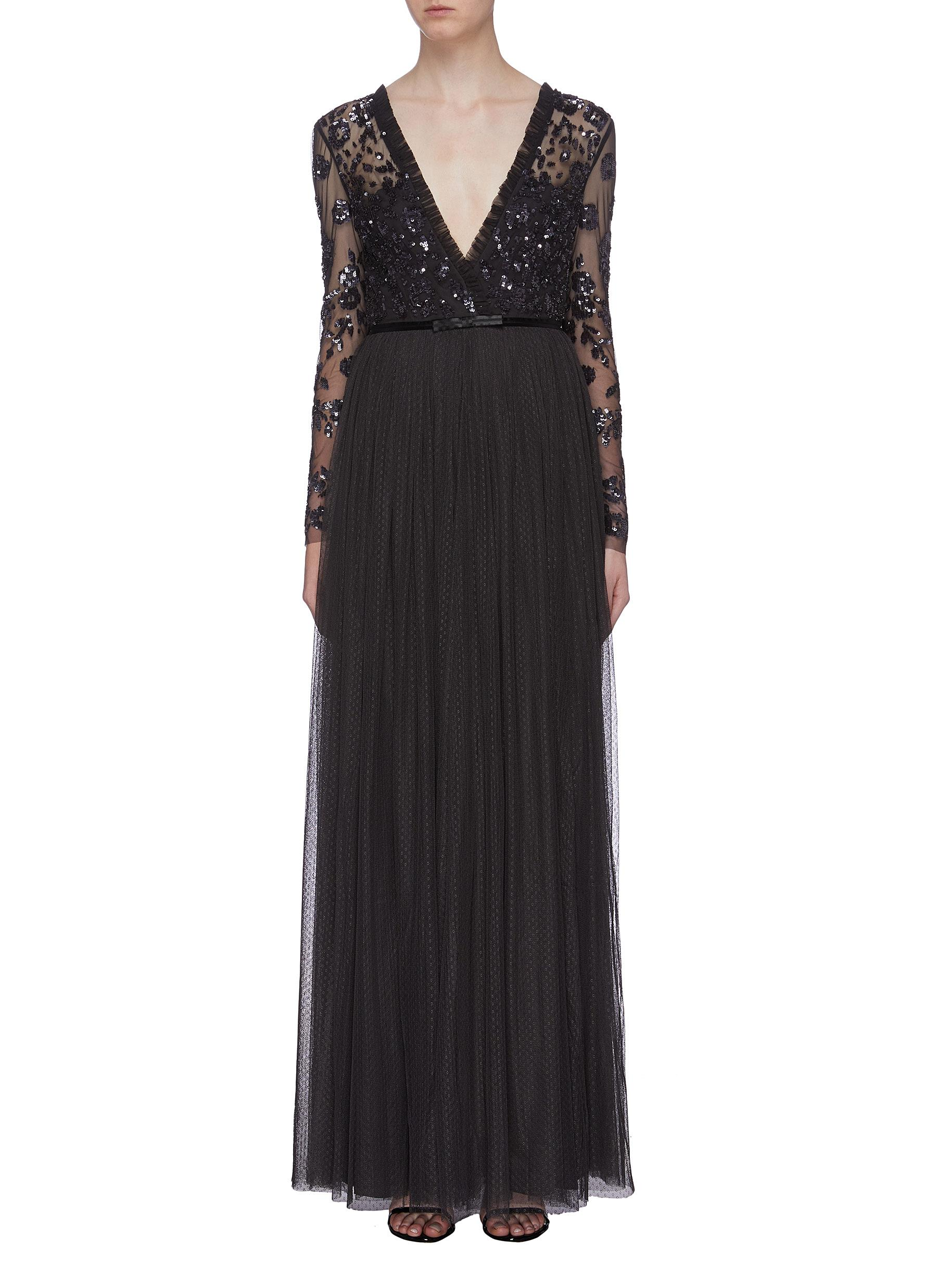 Ava sequin floral mock wrap tulle maxi dress by Needle & Thread
